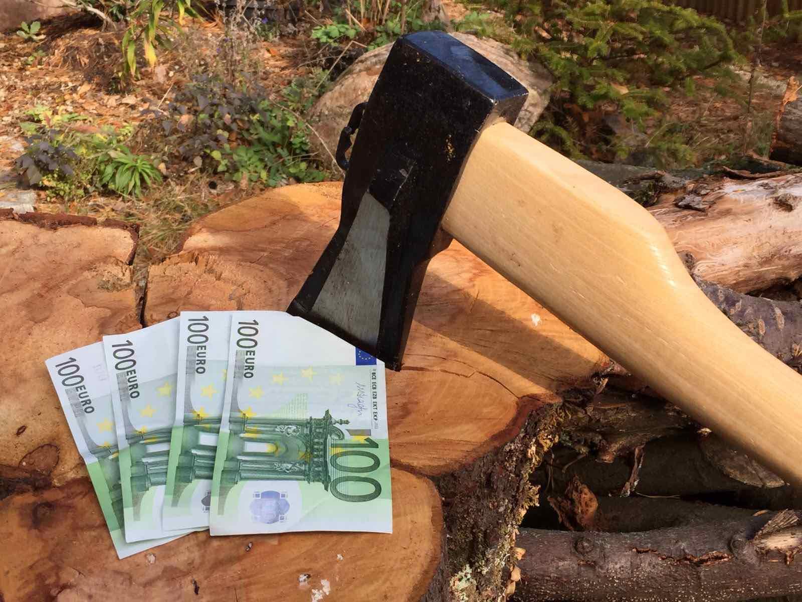 Baumfällung Kosten Axt mit Geld
